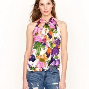 J. Crew floral halter bow camp blouse